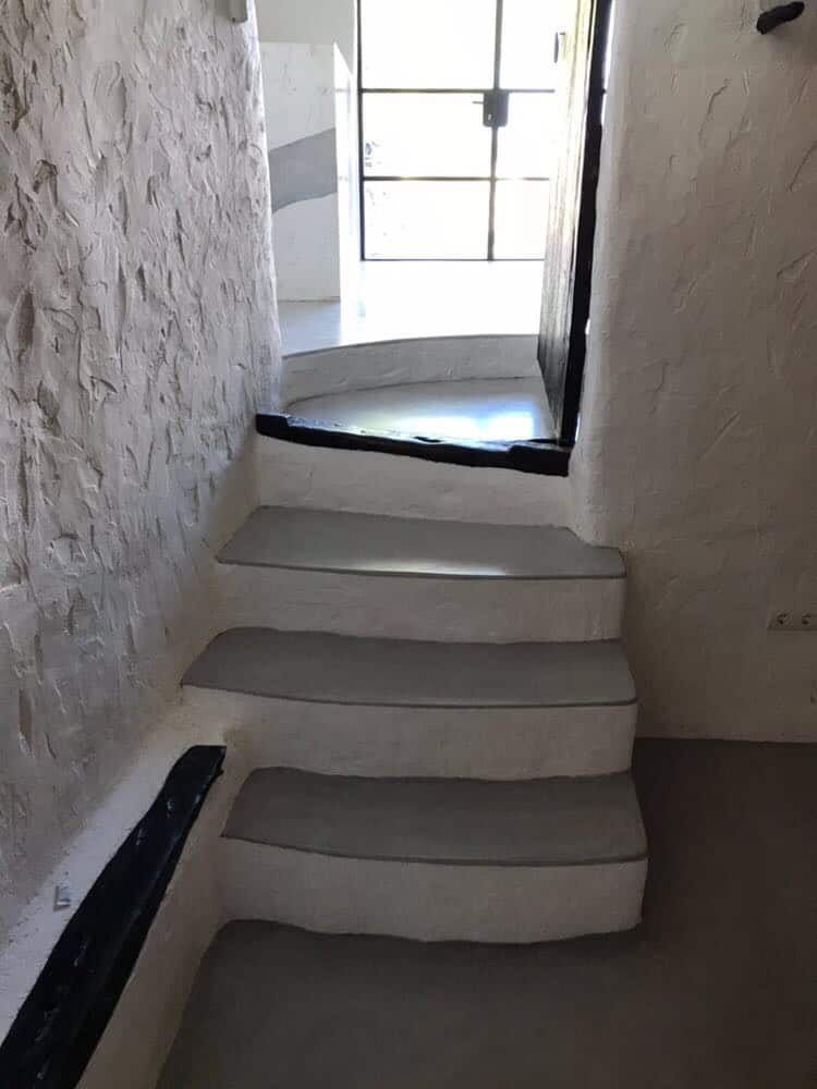 Rustic polished concrete stairwell