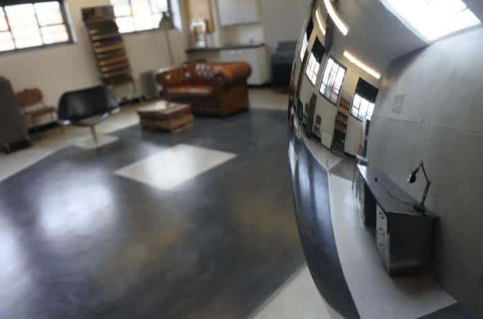 Artistic shot of polished concrete showroom.