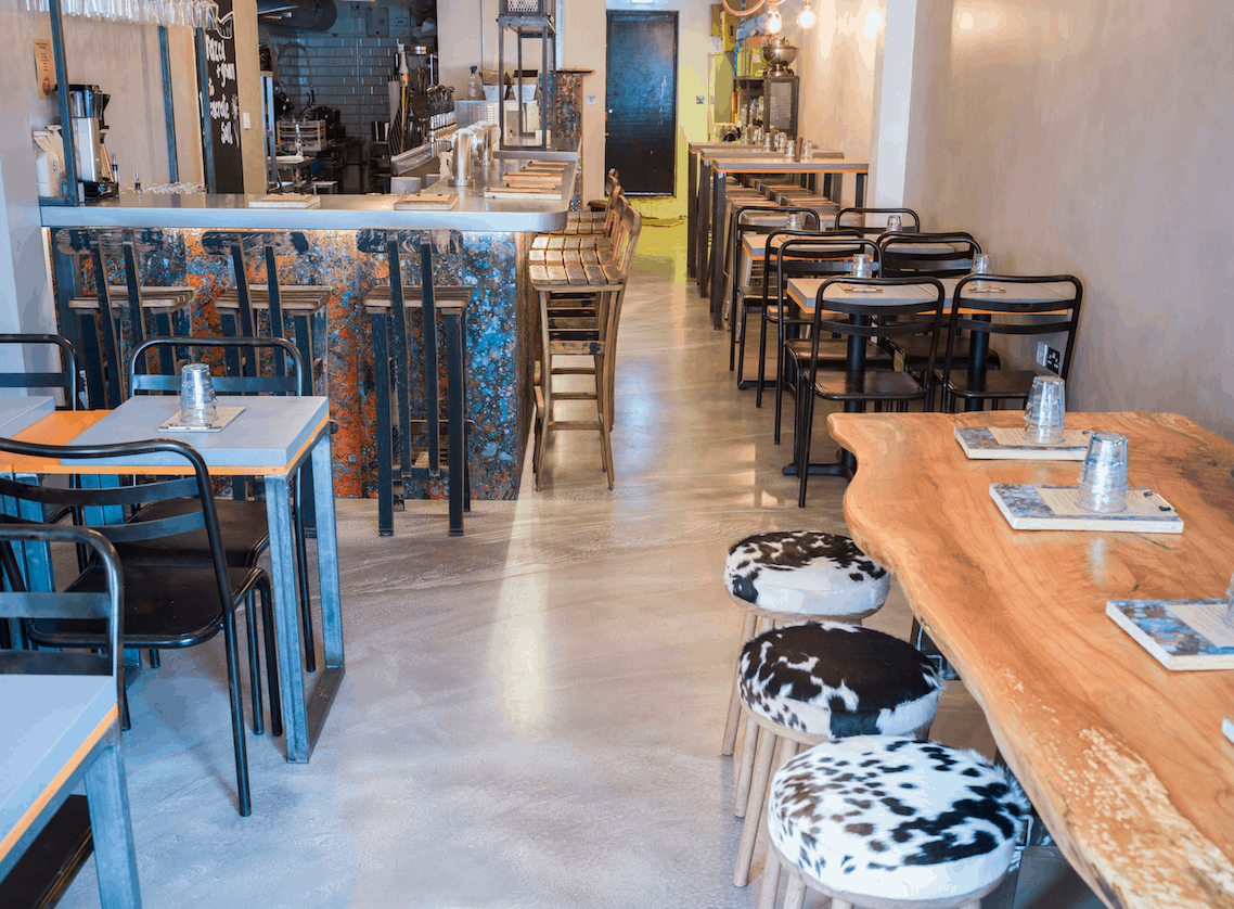 work by restaurant flooring contractors: Polished Concrete co.