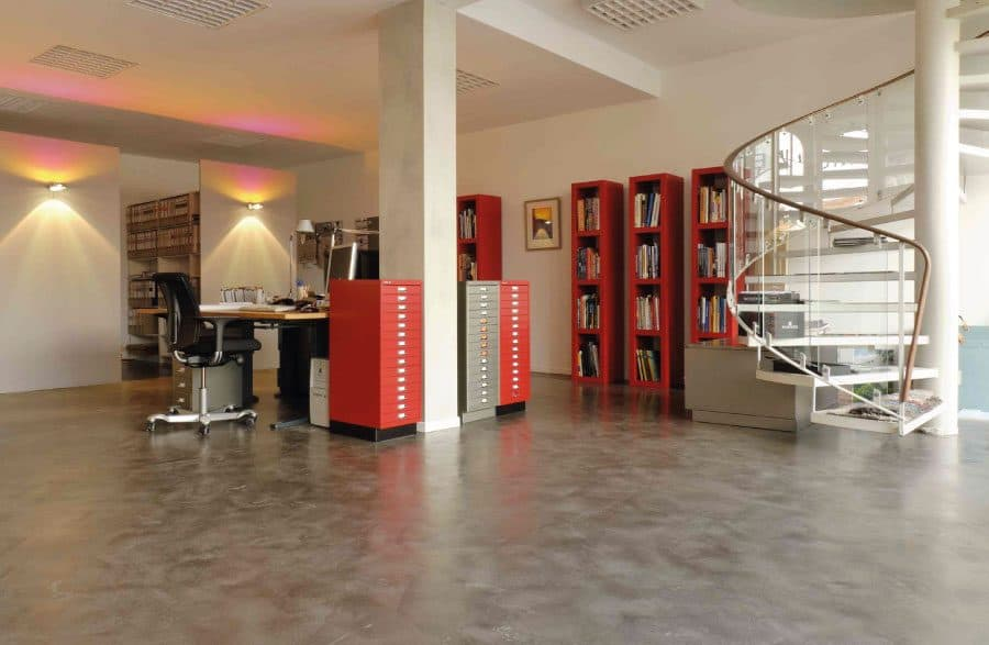 Polished concrete office floor