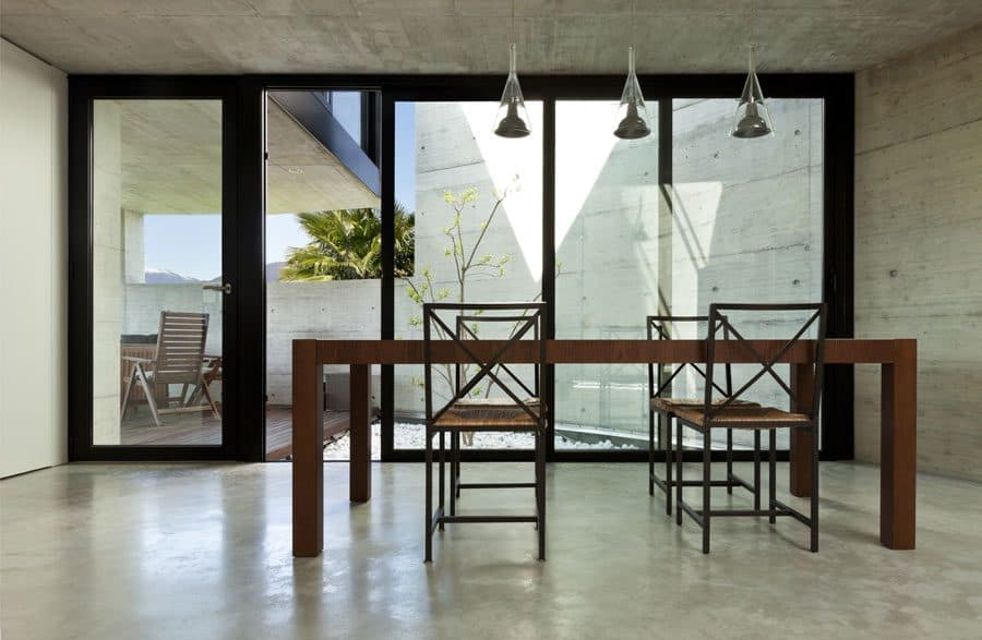 Polished concrete floor in dining room