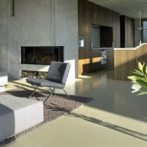 Polished concrete floor open plan living room
