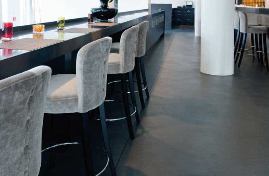 Polished concrete floor in a restaurant