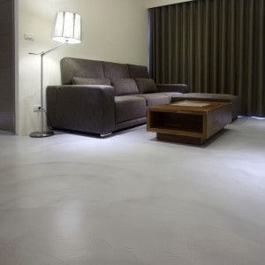 Concrete overlay finish in living room