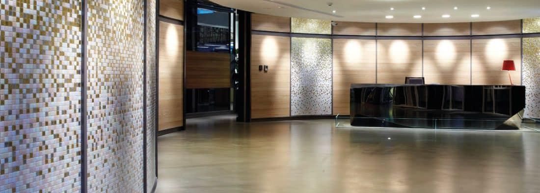 Office reception with polished concrete floor