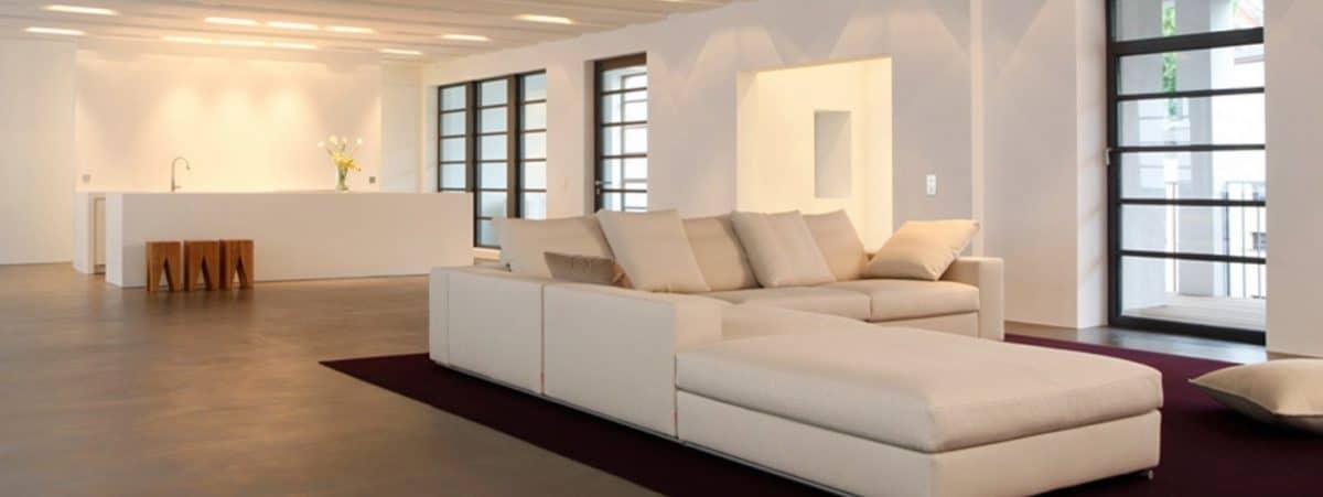 Polished concrete floor in open plan living room