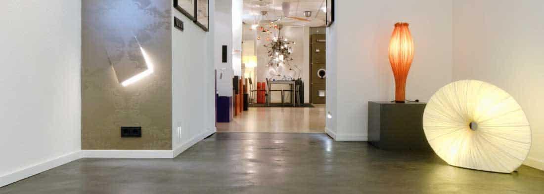 Polished concrete shop floor