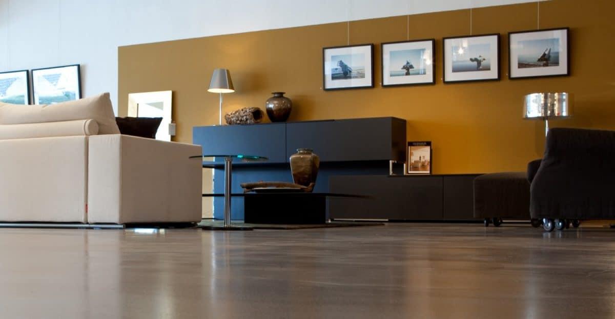 polished concrete floors complete a modern interior design livingroom