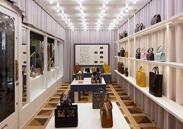 Bespoke cork flooring in handbag shop