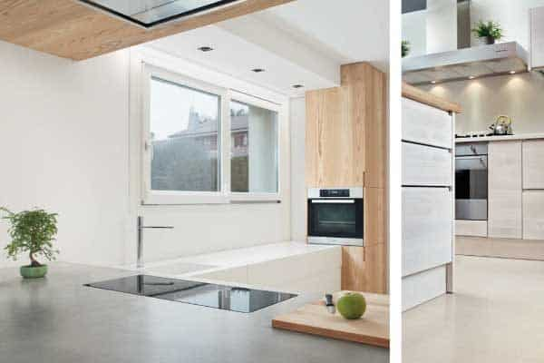 Polished concrete kitchen floor and worktop montage