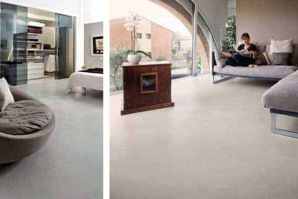 Lounge with microcement flooring
